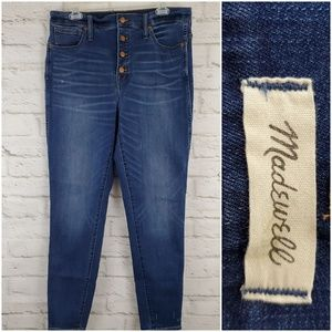 """Madewell 10"""" High Rise Skinny Jeans Button Fly 32"""